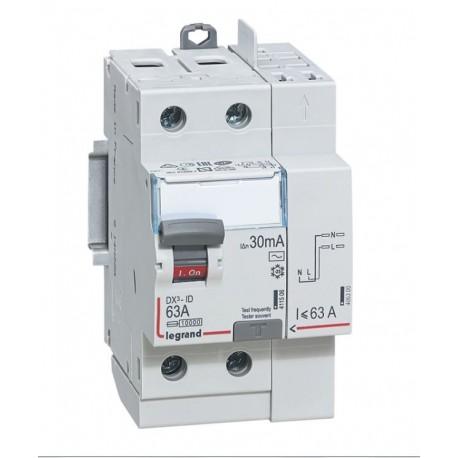 Inter diff DX³-ID - vis/auto - 2P - 230V~ - 63A -type AC - 30mA -départ haut- 3M