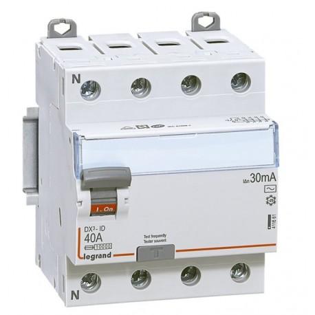 Inter diff DX³-ID - vis/vis - 4P- 400V~- 40A - type AC - 30mA - départ bas - 4M