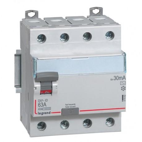 Inter diff DX³-ID - vis/vis - 4P- 400V~- 63A - type AC - 30mA - départ bas - 4M
