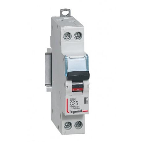 Disjoncteur DNX³ 4500 - vis/vis - U+N 230V~ 25A - 4,5kA - courbe C - 1 mod